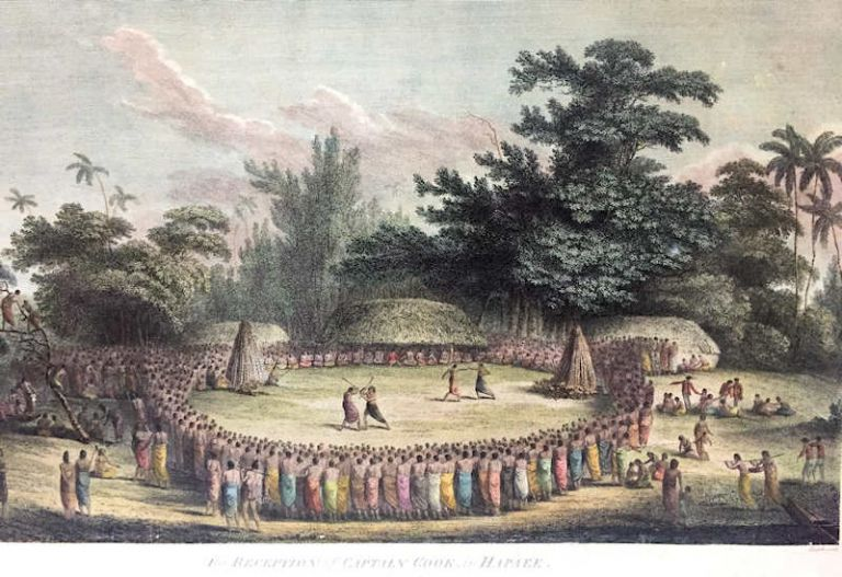 The Reception of Captain Cook, in Hapaee; [From Atlas Plate 14, The Voyage of the Resolution and Discovery 1776-1780, London: Nicol & Cadell, 1784] [Engraved by Henry Heath]. John Webber.