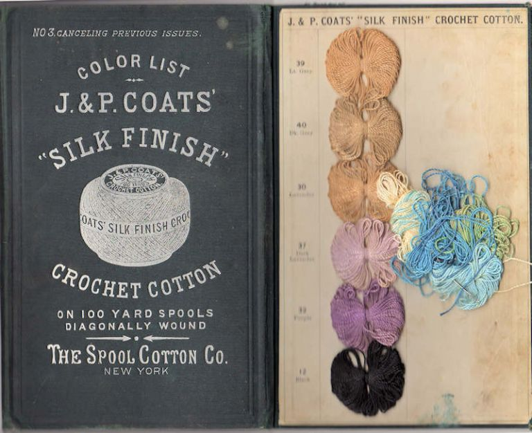 """J. & P. Coats' """"Silk Finish' Crochet Cotton; On 100 Yard Spools Diagonally Wound [ No. 3 Canceling Previous Issues]. Spool Cotton Co."""