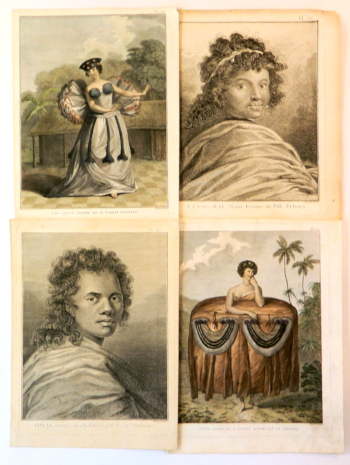Illustrations from James Cook's Second (1772-1775) and Third (1776-1780) Voyages; A Group of Four illustrations of the South Pacific Island people from the French editions. John Webber, William Hodges.