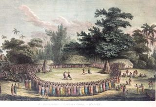 The Reception of Captain Cook, in Hapaee; [From Atlas Plate 14, The Voyage of the Resolution and Discovery 1776-1780, London: Nicol & Cadell, 1784] [Engraved by Henry Heath]