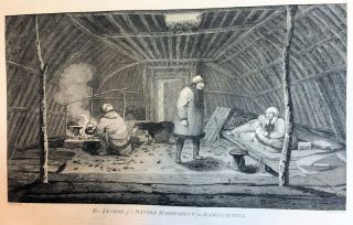 The inside of a winter habitation, in Kamtschatka; [From Atlas Plate 78, The Voyage of the...