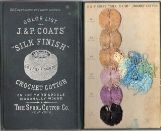 "J. & P. Coats' ""Silk Finish' Crochet Cotton; On 100 Yard Spools Diagonally Wound [ No. 3 Canceling Previous Issues]. Spool Cotton Co."
