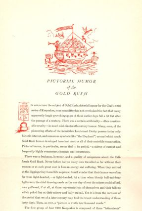 Pictorial Humor of the Gold Rush; [The Book Club of California annual keepsake]. Carl Wheat, Ed....